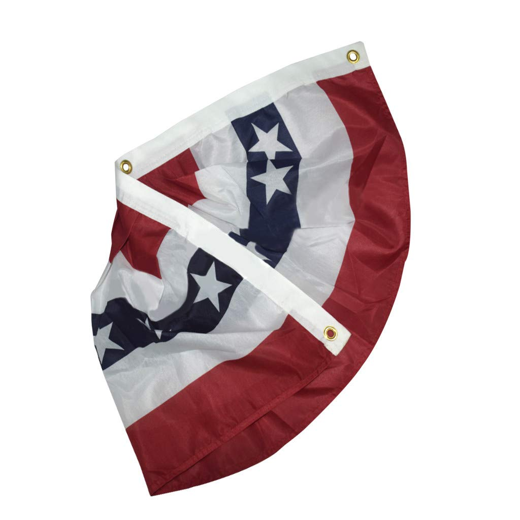 Transser USA Pleated Fan Flag 17.7x35.8American USA Bunting Decoration Flags Embroidered Patriotic Stars /& Sewn Stripes Canvas Header Brass Grommets 2PC United States Half Fan Banner