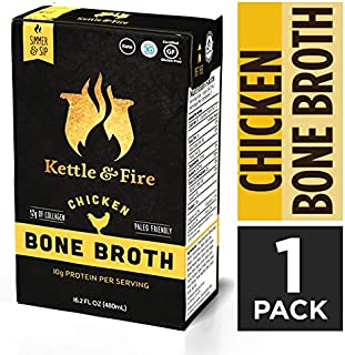 product image for Chicken Bone Broth Soup by Kettle and Fire, Pack of 2, Keto Diet, Paleo Friendly, Whole 30 Approved, Gluten Free, with Collagen, 7g of protein, 16.2 fl oz