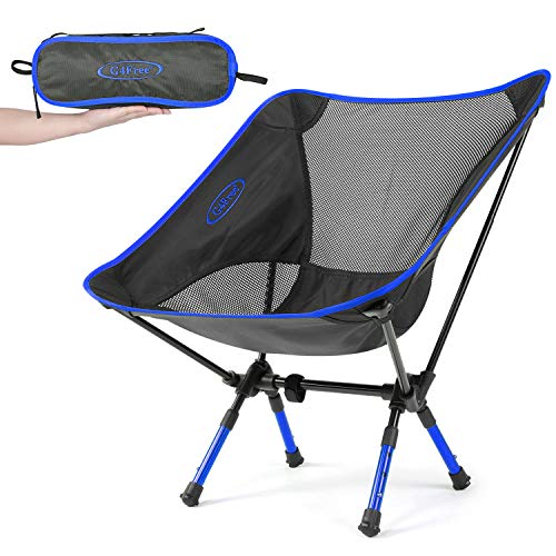 G4Free Portable Camping Chairs Adjustable Height Folding Lightweight Outdoor Backpacking Chair for Sports Picnic Beach Hiking Fishing, Low Back Camp Chair (Adjustable Dark Blue)