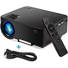Portable Video Projector,Tronfy TP60+ 1500 Lumens LCD+LED Home Theater/Outdoor Cinema Support 1080P HDMI SD VGA AV TV DVD PC Game-Box,Support iPhone,iPad,Adroid,Surface Phone/Tablet with HDMI - Black