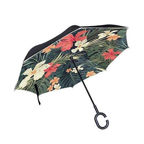 Tropical Style Hawaiian Palm Tree Flower Inverted Umbrella, Large Double Layer Outdoor Rain Sun Car Reversible Umbrella (Offset Umbrella Style)