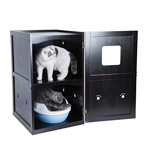 Petsfit Double-Decker Pet House Litter Box Enclosure Night Stand Painted with Non-Toxic with Latch Holding The Door