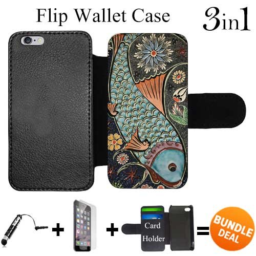 Flip Wallet Case for iPhone 6 Plus/6S Plus (Mosaic Colorful Koi Fish ) with 3 Card Holders | Shock Protection | Lightweight | Includes HD Tempered Glass and Stylus Pen by Innosub