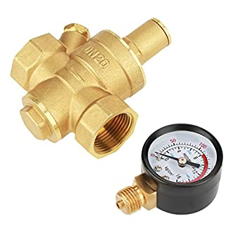 Water Pressure Regulator,DN20 Adjustable Brass Water Pressure Regulator with Gauge Meter