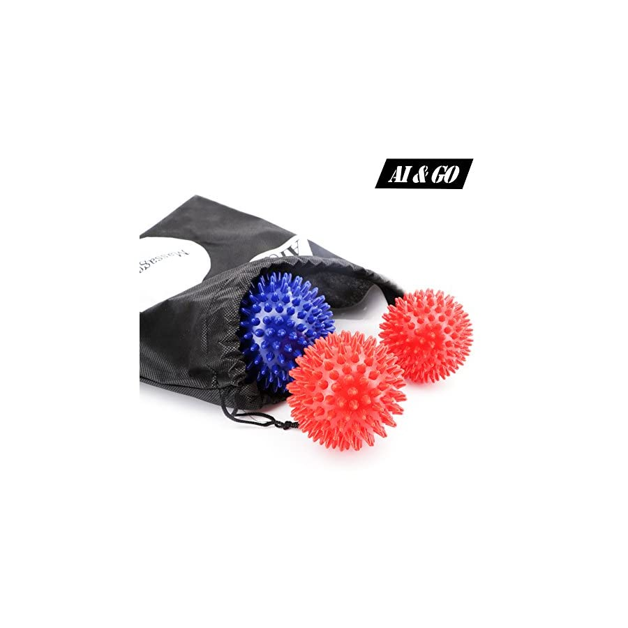 Foot Massage Ball, Balls Set of Spiky for Deep Tissue Trigger Point Back Shoulder Head Feet Massager, Acupressure Plantar Fasciitis Reflexology Relaxation, with 1 Silicone Heel Protector
