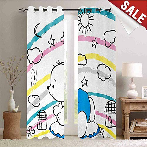 (Hengshu Bear Blackout Draperies for Bedroom Children Kids Theme Cute Doodle Toy with Clouds Sun Moon and Houses Colorful Stripes Thermal Insulating Blackout Curtain W84 x L84 Inch Multicolor)