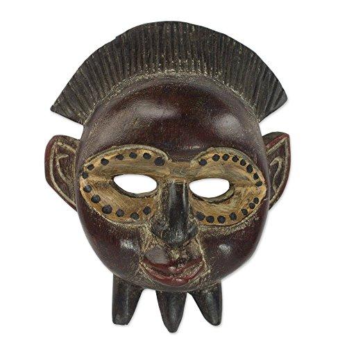 - NOVICA Decorative Sese Wood Mask, Brown, Divine Akwadaa Nyame'
