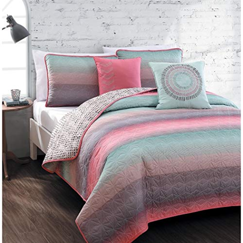 (5-piece Queen Quilt Set for Girls Beautiful Coral Pink, Teal Blue, Violet, Colorful, Microfiber Bedding for Teens or Students, Fusion Starburst Stripe Across Pattern)