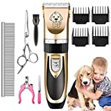 AIYOOE Dog Grooming Clippers, Professional Low Noise Pet Grooming Tools, Rechargeable Cordless Pet Clippers for Dogs Cats and Other Pets