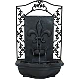 Sunnydaze French Lily Solar Outdoor Wall Fountain, Lead, Solar on Demand Feature