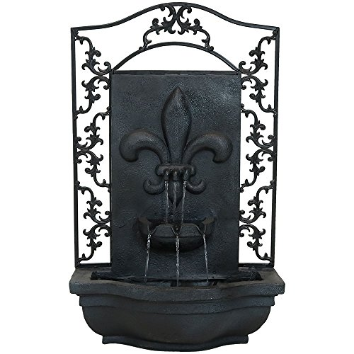 Sunnydaze French Lily Outdoor Wall Fountain, Lead Finish, 33 Inch ()