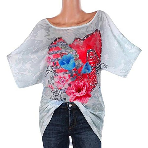 FEITONG Fashion Womens Love Camo Paste Drill Butterfly Print Tops T-Shirt Short Sleeve Round Neck Blouse(Large,White) - Love Shelf Bra