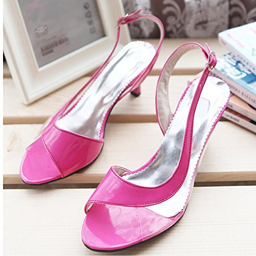 Shoes Peep Kitten Women Red Toe Sandals 7 Coolcept Colors Transparent Sizes Heel Backstrap Extra Rose I8ZxqwAw