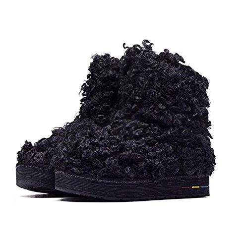 Stiefel Warm Schnee In Tube Black Baumwolle Stiefel Baumwolle Der Lamm Schuhe Stiefel Nachahmung Schnee Flach Haare Schuhe HqHX1r6