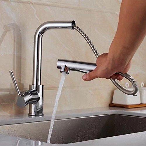 ETERNAL QUALITY Badezimmer Waschbecken Wasserhahn Messing Hahn Waschraum Mischer Mischbatterie Moderne,einfache voll Kupfer warme und kalte Küche Spüle Wasserhahn Küche W