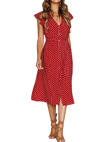 (WLLW Women Vintage Ruffle Cap Sleeve Button Front V Neck Polka Dots Midi Dress)
