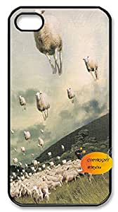 Cheap Case Cover for iphone4,4s,Cool Painting phone case,DIY Cell Phone Case with Flying sheep.