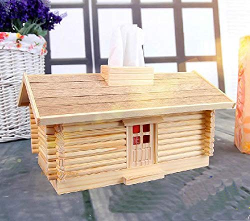 - DishyKooker DIY Assembled Wood Tissue Box Creative Log Cabin Tissue Boxes Table Decoration Model Assembled Wooden Paper Towel Holder Show