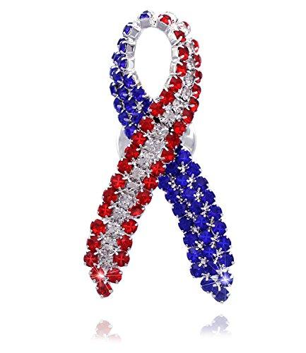 cocojewelry USA Flag Star Ribbon Brooch Pin Women Fashion Jewelry (Style 1 Silver-tone) ()