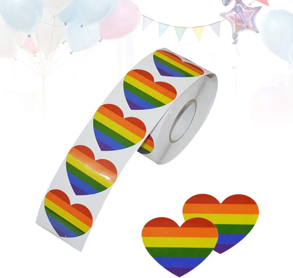 TOYANDONA Cinta Adhesiva Orgullo Gay 7 Colores Rayas en Forma de Coraz/ón Cinta Adhesiva LGBT Pegatinas para Orgullo Fiesta Arcoiris