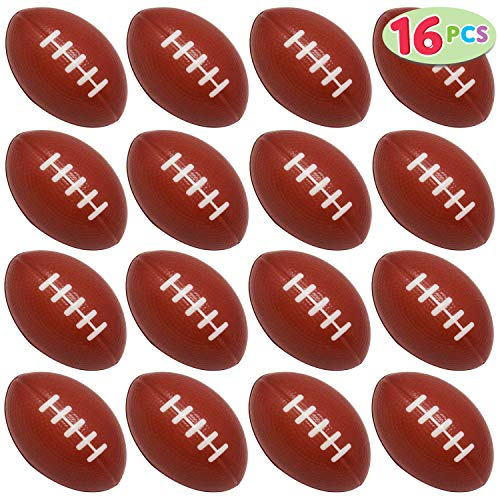 JOYIN 16 Pack Mini Football Foam Stress Balls Toy for Kids Sports Birthday Party Favor, Squeeze Squish Balls, Anxiety Relief, Relaxation, Super Bowl LIII Party and School Classroom Prize]()