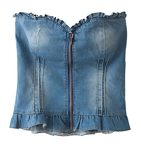 Denim Tube Top (AvaCostume Womens Denim Strapless Tube Top)