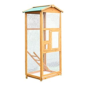 """PawHut 65"""" Large Wooden Vertical Outdoor Aviary Flight House Bird Cage With 2 Doors 65"""
