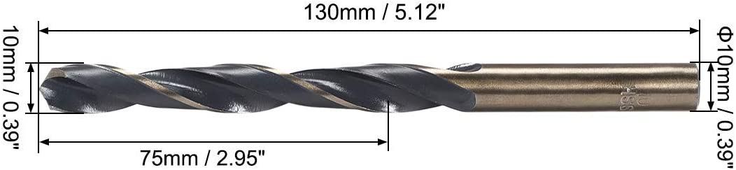 Helical drill bits with reduced stem 10 mm High speed steel 4341 with 10 mm rod 1 piece