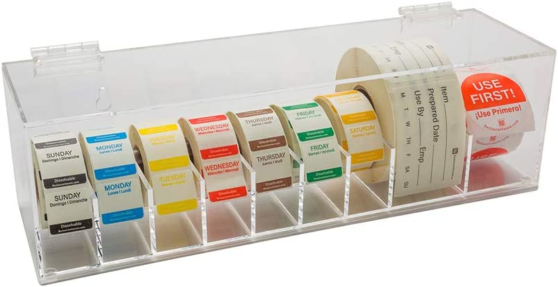 RW Smart 15 Inch x 3.3 Inch Label Dispenser, 1 With Lids Sticker Dispenser - 9 Slots, Non Slip, Clear Acrylic Food Label Holder, For Organizing Date Markers Or Rotation Labels - Restaurantware