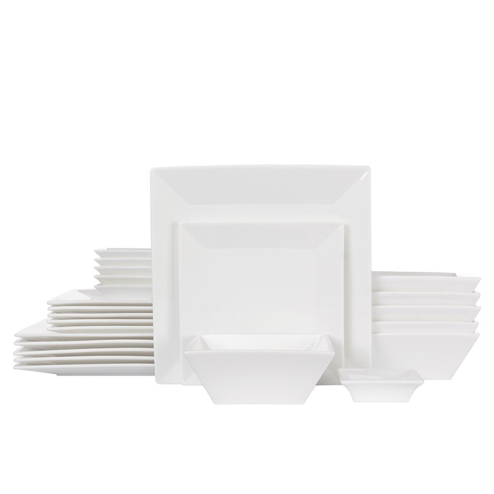 Porlien 24-Piece Classic Square Dinnerware Set for 6, White Porcelain