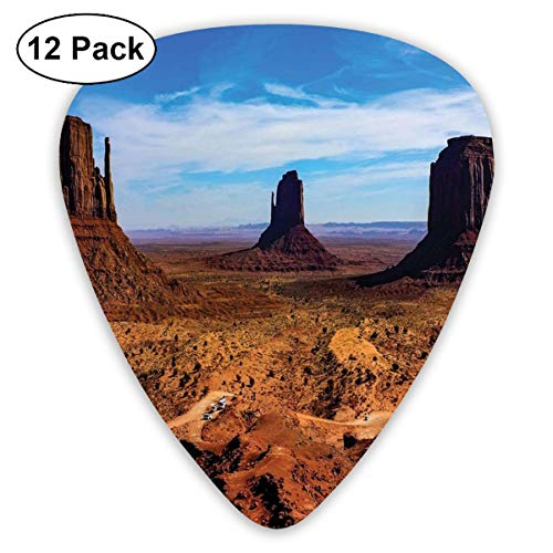 Celluloid Guitar Picks - 12 Pack,Abstract Art Colorful Designs,Monument Valley Arizona Three Buttes East West Merrick National Parks Photograph,For Bass Electric & Acoustic Guitars.