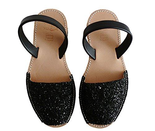 Sandales Avarcas menorquínas authentiques minorquines Glitter negro différentes glitter couleurs 6xq6rgwI4