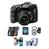Sony a68 Digital SLR Camera with 18-55mm f/3.5-5.6 DT SAM II Lens - Bundle with Holster Case, 16GB SDHC Card, 62mm Filter Kit, Cleaning Kit, Software Package