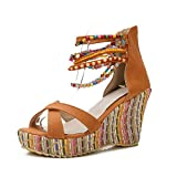 MAIERNISI JESSI Women's Colorful Bohemian Style Wedge Heel Beaded Sandals Orange 41 - US 9