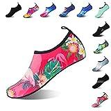 Mens Womens Water Shoes Barefoot Beach Pool Shoes Quick-Dry Aqua Yoga Socks for Surf Swim Water Sport (Flamingos, 38/39EU)