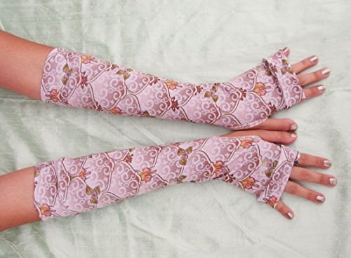 Woodland Fairy Arm Warmers Pink Mauve Brown (Pink Nymph Fairy Costume)