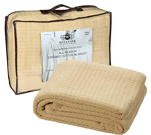 HILLFAIR 100% Soft Premium Combed Cotton Blanket- California King Blankets - Soft Warm Cotton Blanket-Extra Large California King Size Bed Blankets- All Season Cotton Blankets-Beige Cotton ()