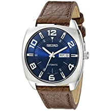 Seiko Men's SNKN37 Stainless Steel Automatic Self-Wind Watch with Brown Leather Band