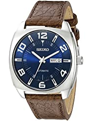 Seiko Mens SNKN37 Stainless Steel Automatic Self-Wind Watch with Brown Leather Band