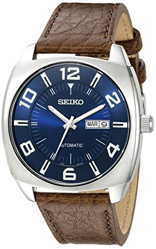 Seiko Men's SNKN37 Stainless Steel Automatic Self-Wind Watch with Brown Leather Band - Automatic Watch Stainless Steel Band