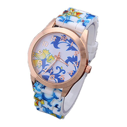 SMTSMT Women's Girl Printed Flower Causal Wrist Watch-Blue