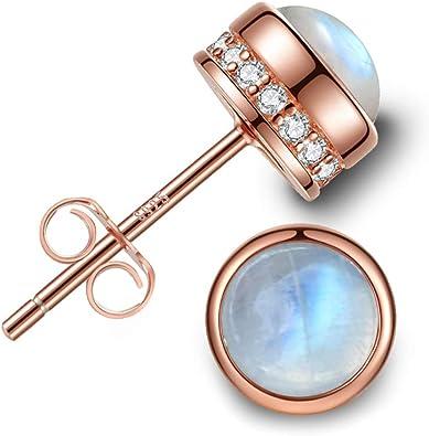 silver stud earrings Monday birthstone Elegant Sterling silver Moonstone gemstones stud earrings Gift for women handmade jewelry