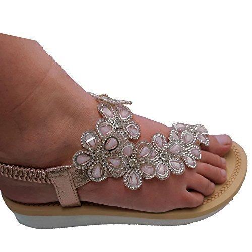 Joustava Alhainen Lingolla Kiilan Mukaan Champagne Diamante Silmukka Naisten Kukka Boutique Takaisin Toe Sandaalit Safiiri zqwSCx