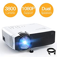 "Why choose APEMAN LC350 Video Projector? APEMAN Portable Mini Projector supports 1080p Full HD multimedia video and multi-input connectivity to meet your diverse needs. It offers a projection size ranging from 36 ""to 180"" and can be adjusted ..."