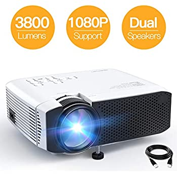 """Mini Projector, APEMAN 3800L Brightness Projector, Support 1080P 180"""" Display, Portable Movie Projector, 45,000Hrs LED Life and Compatible with TV Stick, PS4, HDMI, TF, AV, USB for Home Entertainment"""