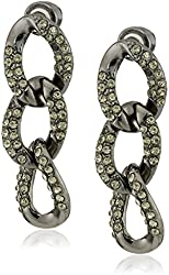 "Kenneth Cole New York ""Pave Status"" Link Triple Drop Earrings"