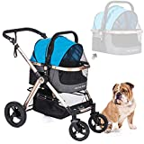 Cheap HPZ Pet Rover Prime 3-in-1 Luxury Dog/Cat/Pet Stroller (Travel Carrier +Car Seat +Stroller) w/Detach Carrier/Pump-Free Rubber Tires/Aluminum Frame/Reversible Handle for Medium & Small Pets (Sky Blue)