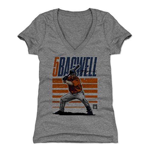 500 LEVEL Jeff Bagwell Women's V-Neck Shirt XX-Large Tri Gray - Vintage Houston Baseball Women's Apparel - Jeff Bagwell Starter O ()