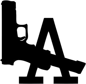 "LA Los Angeles Gun Printed Decal Sticker - 5"" Sticker for Cars Windows Notebooks Lockers Etc"