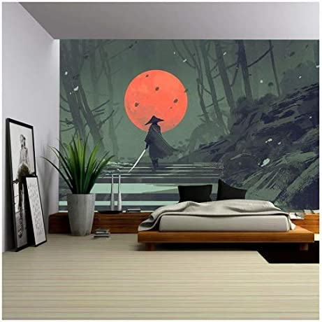 Illustration Samurai Standing on Stairway in Night Forest with The red Moon on Background Illustration Painting